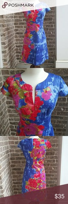 Donna Ricco Floral Paint Splash Print Shift Dress Excellent condition. Hidden zipper in the back. Lined. Perfect party dress. Donna Ricco Dresses