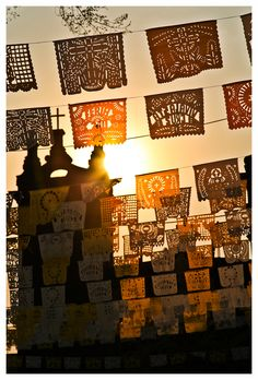 Mexican papel picado (paper banners) are amazing. Mexico Day Of The Dead, Day Of The Dead Art, Mexican Celebrations, Mexico Style, Mexican Designs, Mexican Folk Art, Mexico Travel, Culture Travel, Spanish