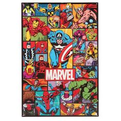 This embossed tin sign sports a retro Marvel design to adorn walls with fan-favorite flair. Tin Signs, Metal Signs, Wall Signs, Dc Comics Superheroes, Emboss, Appreciation, Collage, Comic Books, Kids Rugs