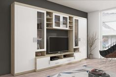Shipley Heights Entertainment Unit Metro Lane Colour: Brown/White, With lighting: No Living Room Tv Unit Designs, Tv Unit Furniture, Tv Panel, Muebles Living, Tv Wall Decor, Diy Zimmer, Tv Wall Design, Bedroom Storage, Interior Decorating