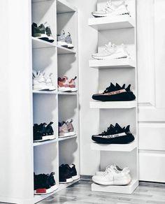 Buy New Adidas Yeezy Boost 350 Black White / Oreo sneakers online Sneaker Storage, Shoe Storage, Shoe Racks, Shoe Room, Shoe Closet, Hypebeast Room, Butter Shoes, Gaming Room Setup, Shoe Display