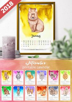 Instant Download PRINTABLE New Year Calendar 2018 Moon Phase.