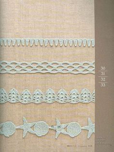 crochet lace with chart - Love the bottom one, reminds me of starfish and shells.