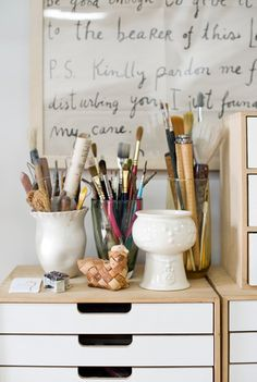 Lotta Jansdotter's craft room/art supplies