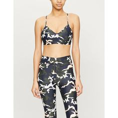 The Upside Andie Camouflage-print Low-impact Sports Bra - Womens - Camouflage , The Upside, Workout Wear, Friends In Love, Army Green, World Of Fashion, Luxury Branding, Camouflage, Active Wear, Fitness Models