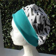 Turban bonnet béret chapeau chimio enfant imprimé noir/ blanc et vert