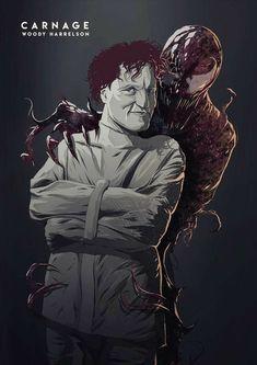 Woody Harrelson Carnage, The Cletus Kasady Marvel Venom, Marvel Villains, Marvel Vs, Marvel Dc Comics, Marvel Heroes, Marvel Movies, Marvel Comic Universe, Comics Universe, Marvel Cinematic Universe