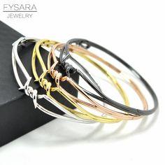 0ae86edd5bd FYSARA Street X Bracelet For Men Women Charm Love Knot Thin Bangles  Bracelets Brand Jewelry Punk Black Twisted Buckle Bangle -in Bangles from  Jewelry ...