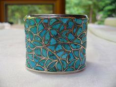Southwest Zuni Inlay Turquoise & Silver Inlay Cuff