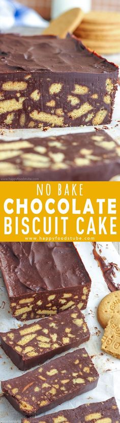 No bake chocolate biscuit cake also known as chocolate fridge cake is a must-try treat. Turn digestive biscuits & chocolate into this easy homemade dessert. Only 4-ingredients and ready in 10-minutes. How to make a cake from biscuits via @happyfoodstube