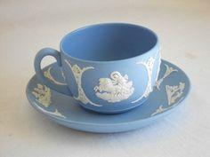 Wedgwood Blue Jasperware Cup and Saucer 1952   eBay