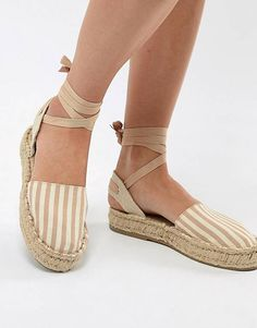Pull&Bear espadrille with tie ankle