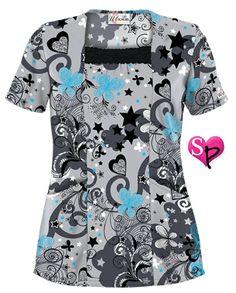 UA Sweet Dreams Silver Print Scrub Top Style # UA898SDS #uniformadvantage #uascrubs #fashiontop #silver