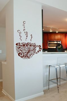 Swirling coffee Cup Large Vinyl Lettering by itswritteninvinyl, $45.00