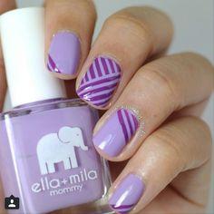 Diagonal stripe nails ♡