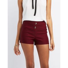 Charlotte Russe High-Rise Millennium Shorts (€16) ❤ liked on Polyvore featuring shorts, wine, high waisted stretch shorts, short shorts, stretch shorts, charlotte russe shorts and high waisted pleated shorts