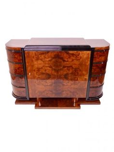 This Art Deco sideboard was manufactured in France around 1935. It is made from Caucasian walnut.