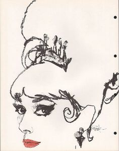 Bob Peak's illustration of Audrey Hepburn in My Fair Lady (dir. Art And Illustration, Vintage Illustrations, Fashion Illustrations, American Illustration, Robert Mcginnis, Audrey Hepburn, Bob Peak, Black And White Sketches, My Fair Lady