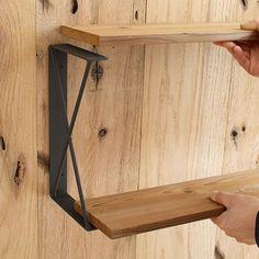 アイアン 棚受け21  2段仕様 金具 アイアン ブラケット 金具 DIY アイアン棚受け 黒|plusbox|01
