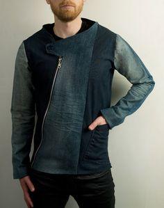Men's avant garde jean jacket from distressed denim by PopLoveHis, $120.00