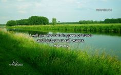 Promise #13 I will give you rest in green pastures and lead you to still waters. Psalm 23:2