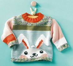 Ravelry: Rabbit Sweater pattern by Phildar Design Team Baby Knitting Patterns, Baby Boy Knitting, Knitting Blogs, Knitting For Kids, Crochet For Kids, Baby Patterns, Free Knitting, Crochet Baby, Knit Crochet