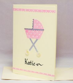 Personalised baby card, new baby card, baby girl card, personal baby card, christening card, baby name card, baptism card