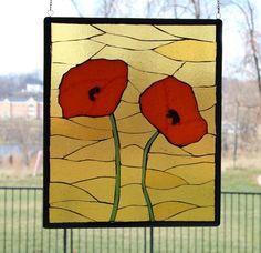 Fused Glass Poppies Panel. $225.00, via Etsy.