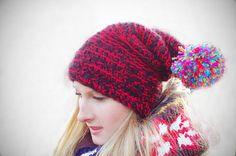 Etsy 30 off Designer Crochet Red / Black Handmade by EllaGajewska, £22.00      #beanie #hat