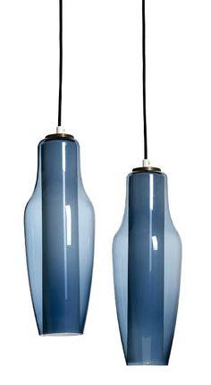 Blauwe vintage hanglampen ontworpen door Svend Aage Holm Sørensen.