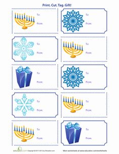Make things a little easier this Hanukkah by using these colorful printable gift tags! Just print out on business card paper and you're ready to go. Hanukkah Crafts, Jewish Crafts, Hanukkah Decorations, Christmas Hanukkah, Hannukah, Happy Hanukkah, Jewish Hanukkah, Hanukkah Food, Christmas Doodles
