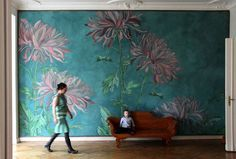 Mimose wall decoration, latex painting on canvas by Berlin based Atelier Wand-lungen Mehr Mural Painting, Mural Art, Wall Murals, Wall Art, Wall Canvas, Paintings, Inspiration Wall, Painting Inspiration, Art Mur