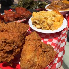 Fried Chicken, Mac & Cheese, Sweet Potatoes, Greens, and Peach Cobbler!