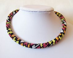 Beads crochet ropes necklace - Beadwork - Seed beads jewelry - Geometric Design - Colorful necklace