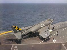 Supermarine Scimitar F.1 of 803Sqn getting ready to launch from HMS Hermes