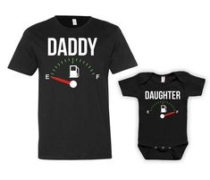 Daddy Daughter Shirts Dad And Daughter Matching Set Father And Daughter Gift Daddy And Me Clothing Fuel Empty Full Bodysuit - JM121-124 by GoldenStarTees on Etsy
