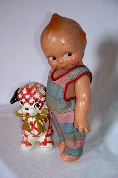 Kewpie and puppy planter