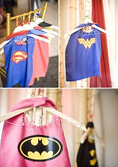 Superhero Birthday Party Capes http://www.ontobaby.com/2011/12/dylans-superhero-2nd-birthday-party/