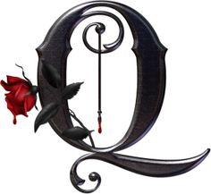 Abecedario gótico adornado con rosas. Letra Q mayúscula.
