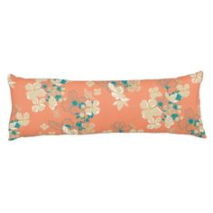 Floral Beige and Teal Body Pillow - flowers floral flower design unique style
