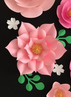 Pink Paper Flowers Wall Decor, Large Flower Backdrop, Pink Gold Paper Flower Nursery, Giant Flower BThis flower template design is so much attractive for your flower backdrop. The templates come with video and instructions to make your works a lot ea Large Paper Flowers, Tissue Paper Flowers, Paper Flower Wall, Paper Flower Backdrop, Flower Wall Decor, Paper Roses, Large Paper Flower Template, Flower Petal Template, Paper Flower Tutorial