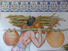 Detalhes decorativos em azulejos no Castelo de Cardiff, País de Gales.
