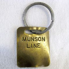 Very RARE Antique Brass Munson Line Steam SHIP Key Chain Tag Vintage Boat Sailor   eBay