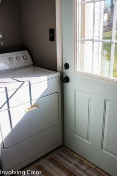 Give a laundry room door a fresh coat of paint with Ace Blogger @involvingcolor