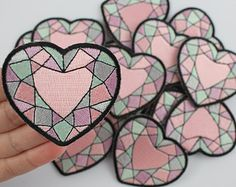Heart Gemstone Embroidered Patch / Iron-On Applique - Pastel
