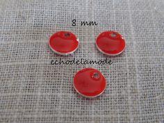 3 sequins émaillés ronds pendentifs (recto - verso) rouges diamètre 8 mm