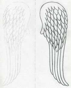 angel wings outline | How To Draw Angel Wings Quickly In Few Easy Steps
