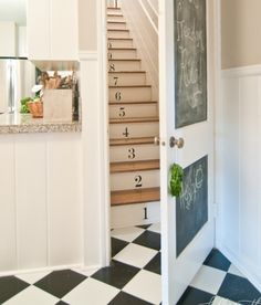 Love the numbered stairs, chalkboard door, and checkered floor!!!!