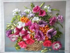 Petunias in a basket #ribbonEmbroidery