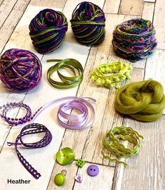 Colour co-ordinated textured yarns, ribbons and buttons to use in your textile projects Textured Yarn, Yarn Colors, Yarns, Ribbons, Dream Catcher, Weaving, Therapy, Textiles, Buttons